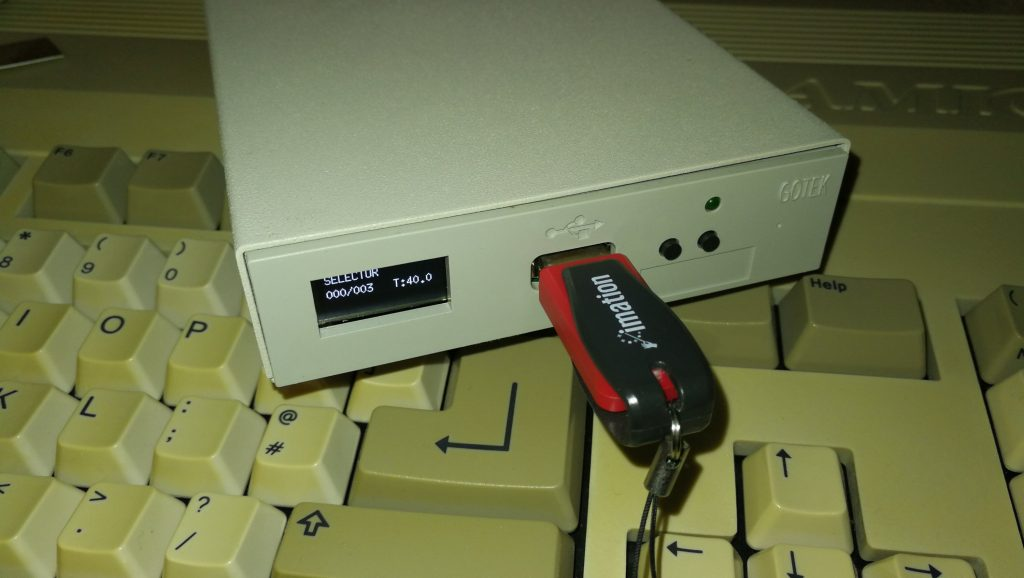 Close-up of Gotek Drive with OLED Screen