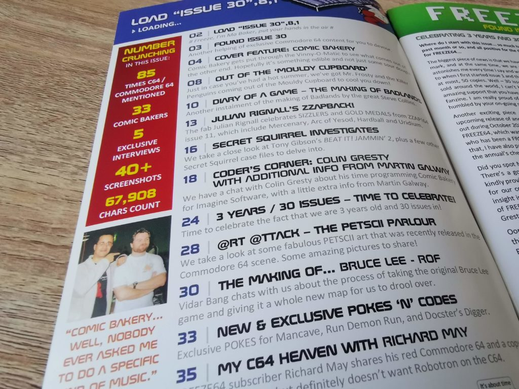 Freeze 64 Issue 29 Contents