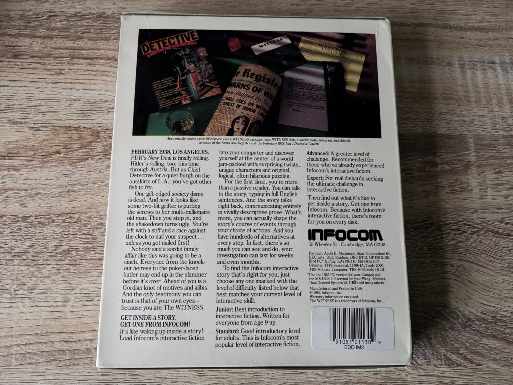 Infocom's The Witness Back Cover
