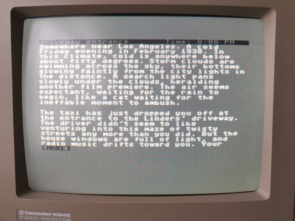 Infocom's The Witness running on my Commodore 64.