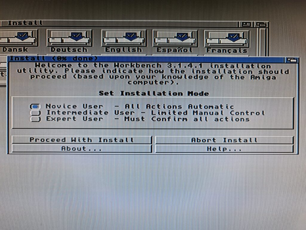 Amiga Installation Mode screen