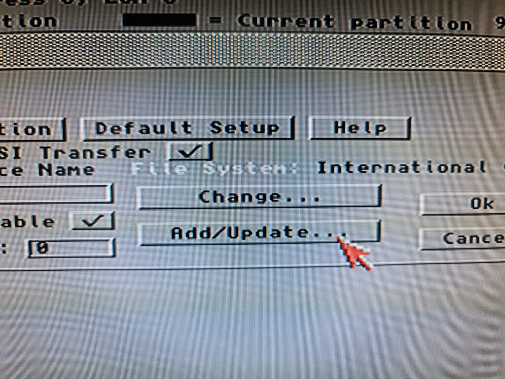 Amiga HDToolBox add update button