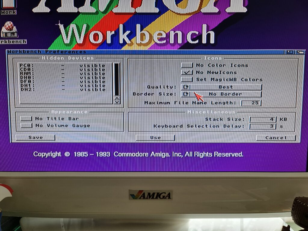 Amiga Workbench Preferences Screen