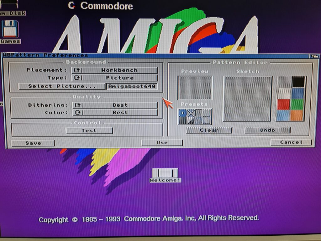 Amiga WBPattern Preferences Screen