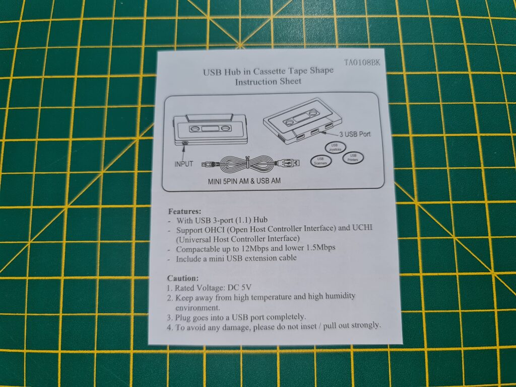 USB Cassette Hub Instructions