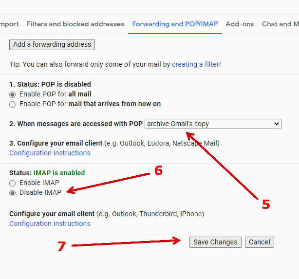 How to enable POP access in Gmail.