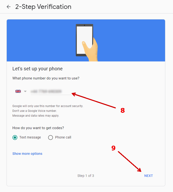 How to enable '2-step verification' in Gmail.